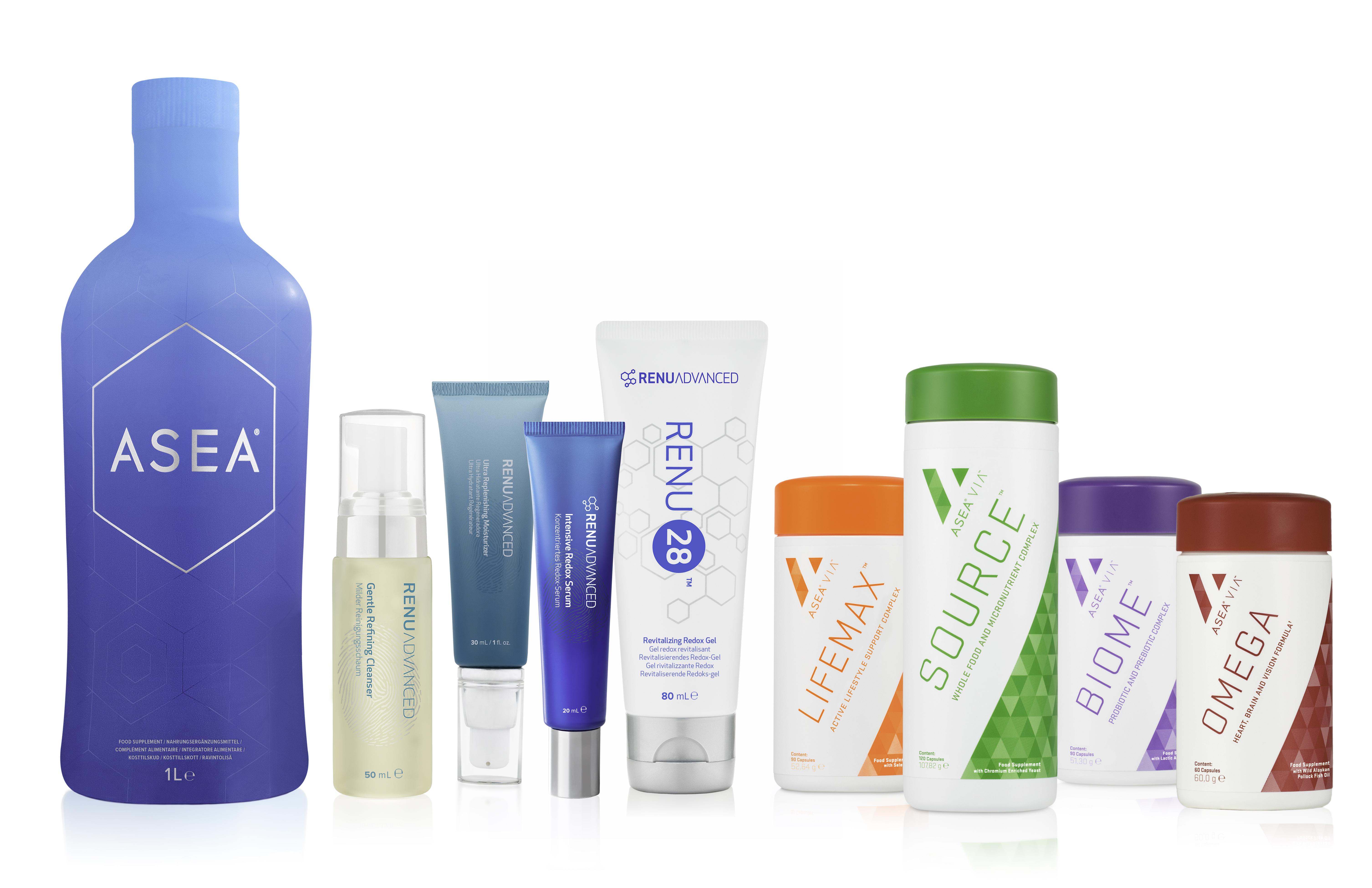Alle ASEA-Produkte aufgereiht in einer Reihe